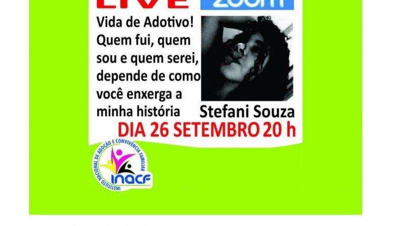 Convite da Reunião do Zoom com o Título da Live e Foto da Palestrante